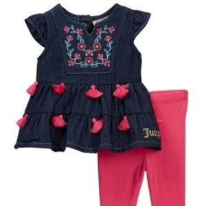Juicy Couture Embroidered Denim 2 Piece Set